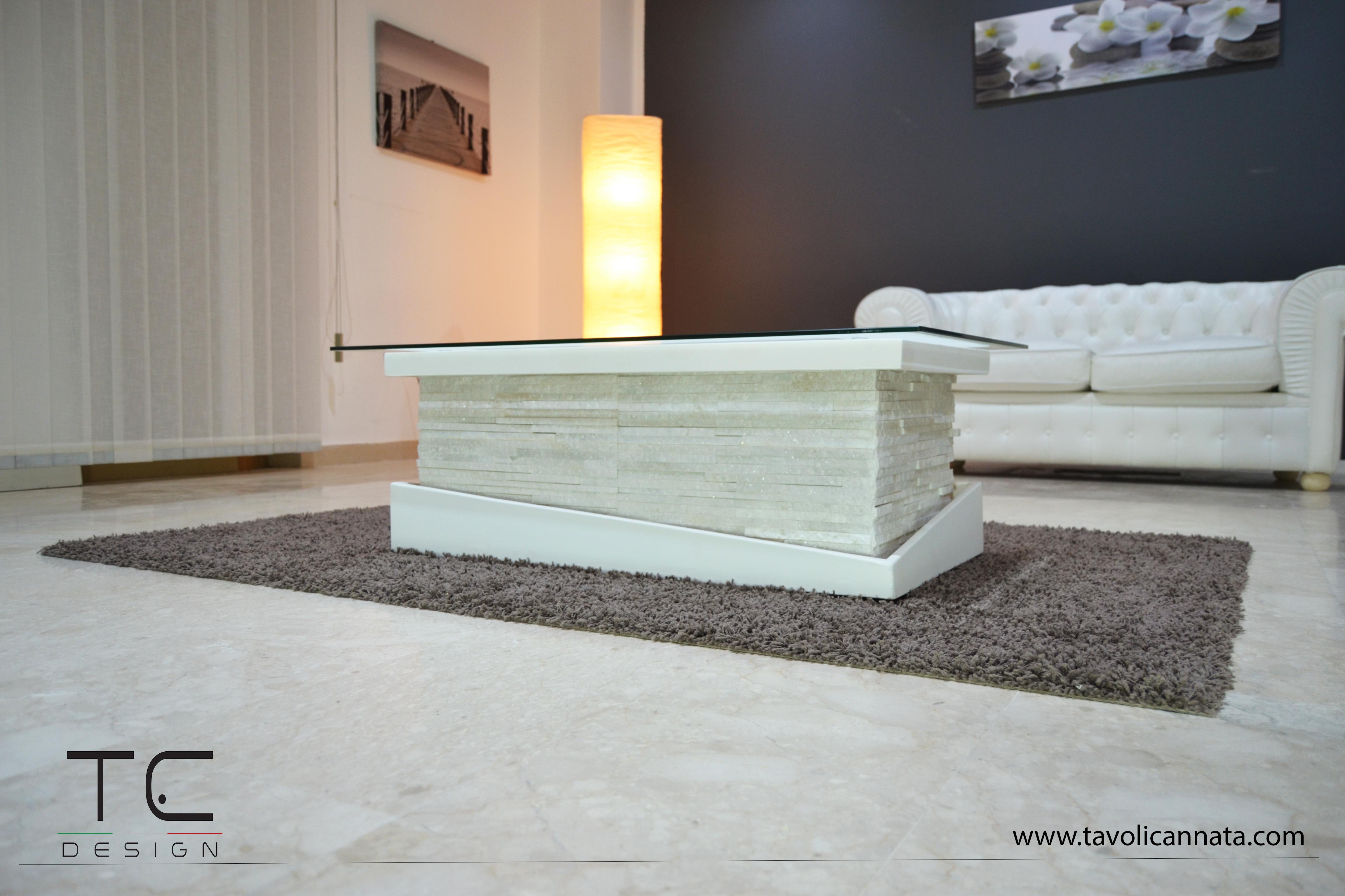 Tavolino salotto Stone Bianco - Tavolini Cannata