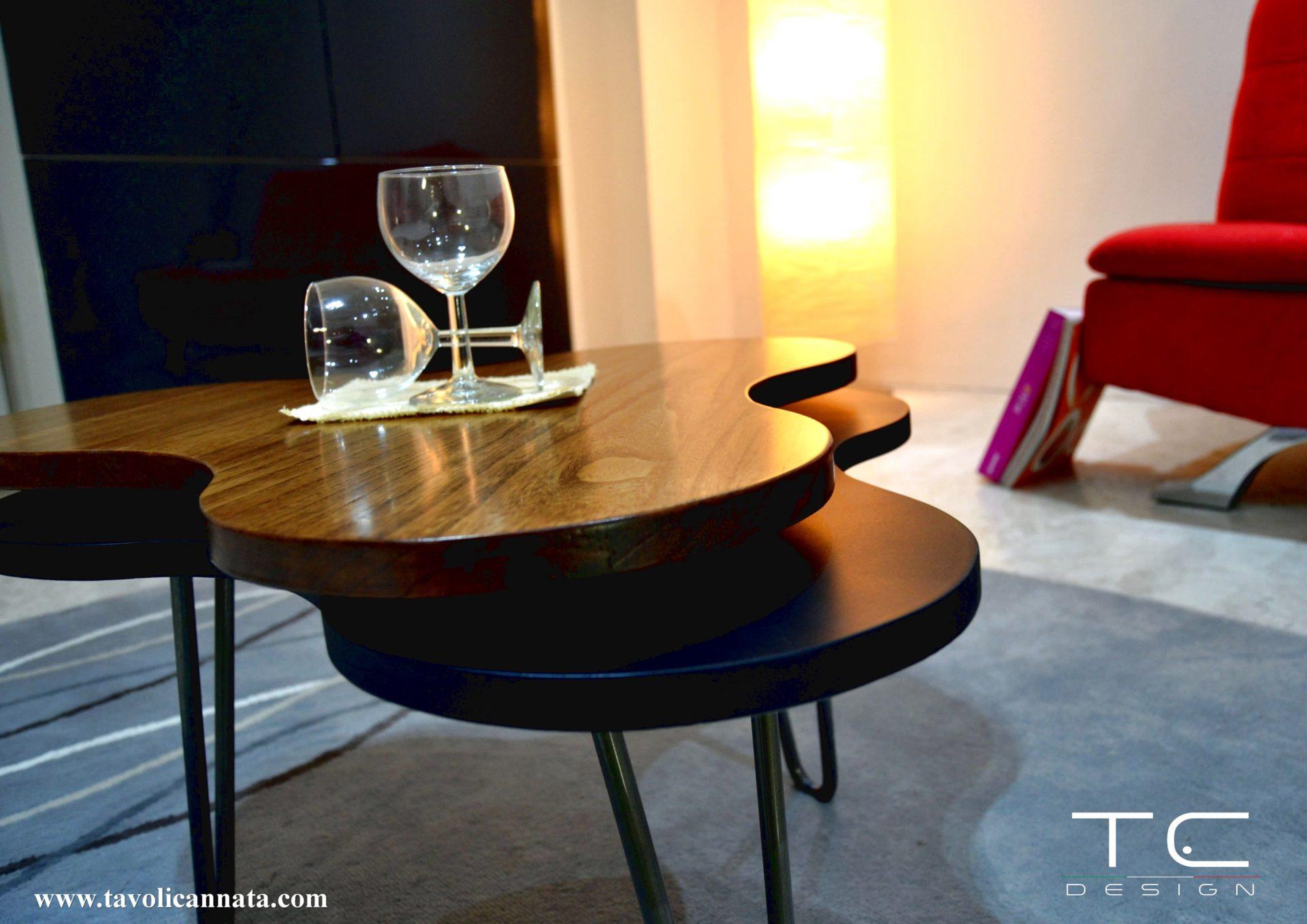 Tavolini in legno per soggiorno di design moderni - Tavolini Cannata