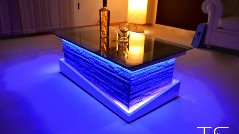 Led glass coffee table
