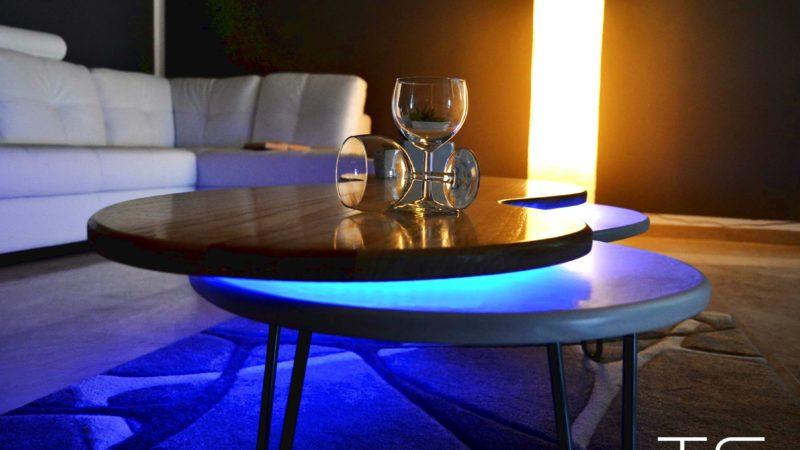 Led light cocktail table