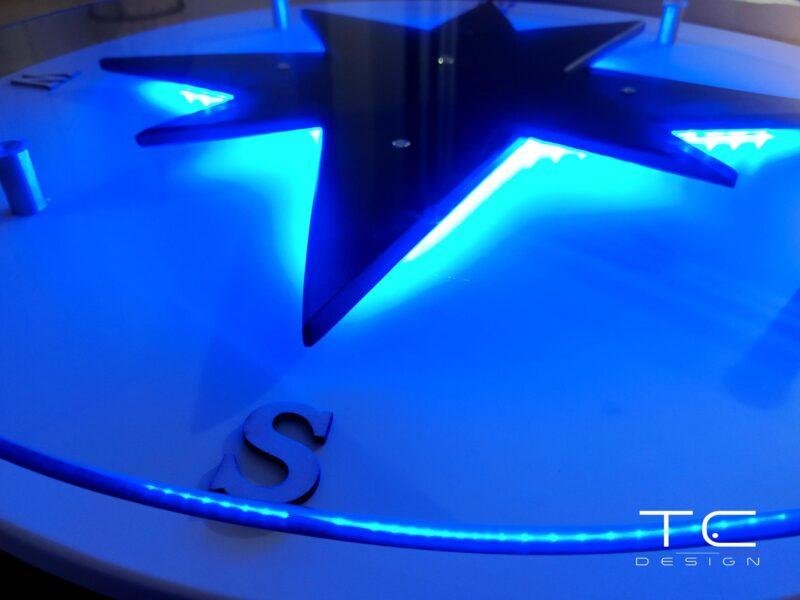 Table basse bois verre design